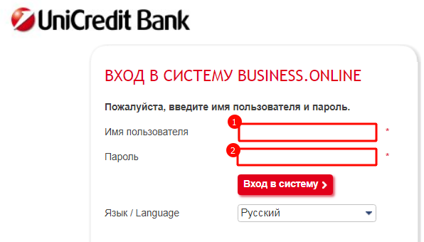 Вход в систему Business.Online с помощью логина и пароля